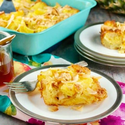 Pineapple Bread Pudding with Pineapple Rum Sauce