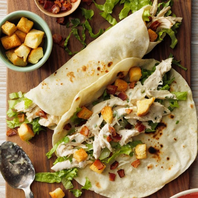 Slow-Cooked Chicken Caesar Wraps