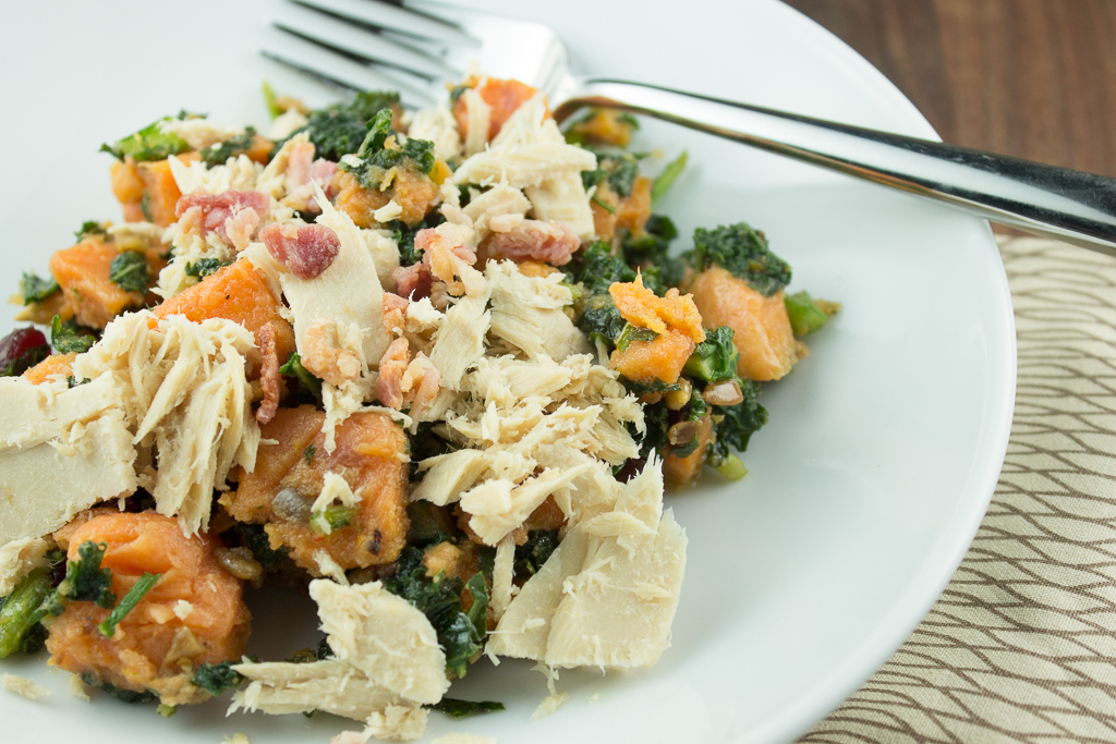 Thanksgiving Leftover Dish: Turkey Bowl with Kale and Sweet Potatoes